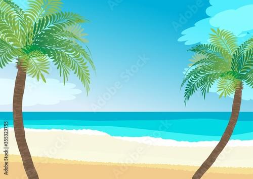 Fotografie, Tablou 南国の浜辺、ヤシと海のイラスト