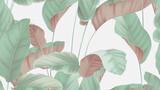 Foliage seamless pattern, tropical plants on bright grey - 355339108