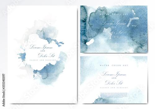 Vászonkép Watercolor abstract pattern texture navy blue paper print background template ve