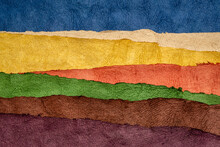 Rolling Hills Abstract Landscape - Colorful Textured Paper Sheets