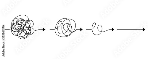 Obraz scribble line doodles. the concept of transition from complicated to simple, isolated on white background. vector illustrations - fototapety do salonu