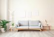 Leinwanddruck Bild - Interior of modern living room with comfortable sofa