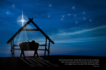 Nativity Scene Of Baby Jesus In The Manger