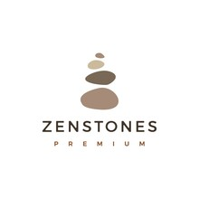 Balancing Rock Zen Stone Stones Logo Vector Icon Illustration