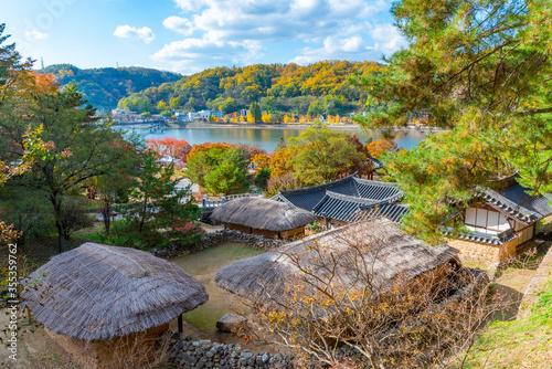 Fototapeta Andong folk village near Woryeonggyo Bridge in Republic of Korea obraz