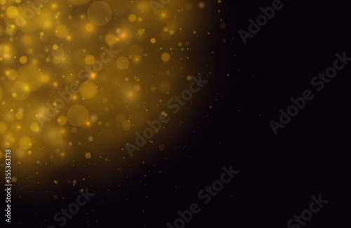 Fototapeta Light abstract glowing bokeh lights. Festive golden luminous background with colorful lights bokeh. Magic concept. Christmas concept. obraz na płótnie