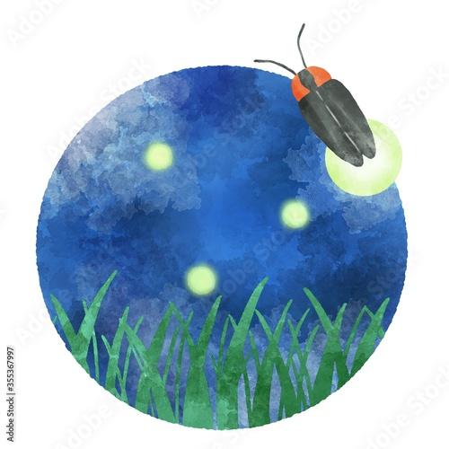 Obraz na plátne 夜の草むらの蛍 丸いアイコン