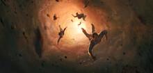 People Swallowed By Tornadoes, Digital Painting.