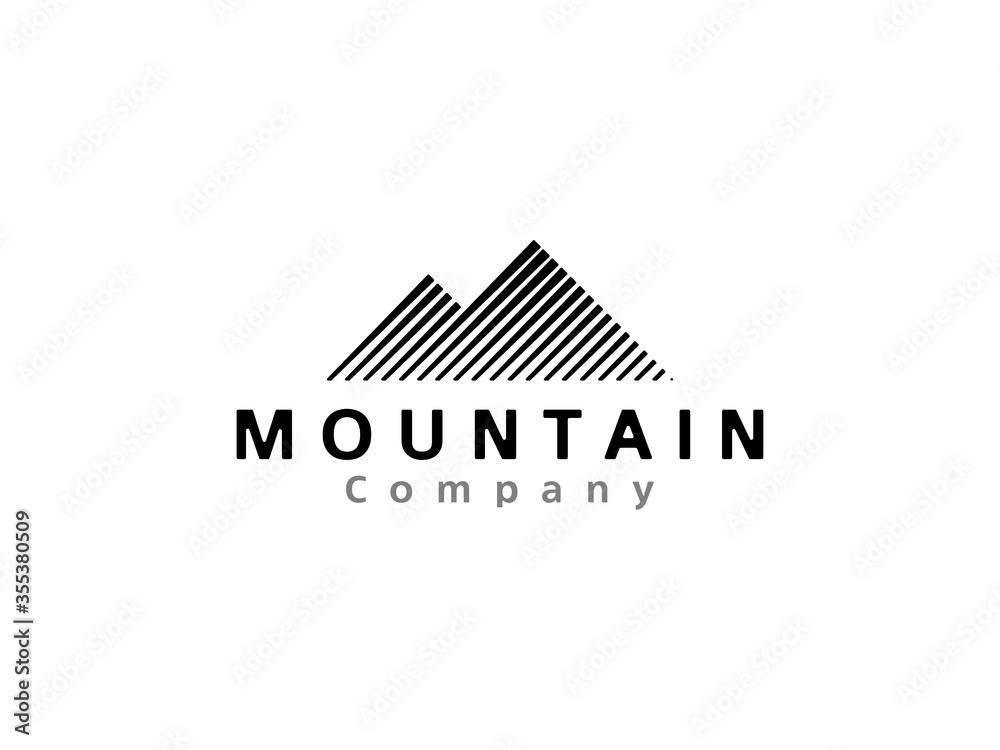 Fototapeta Mountain line stripes logo vector template. Minimalist retro hipster mountain logo icon illustration