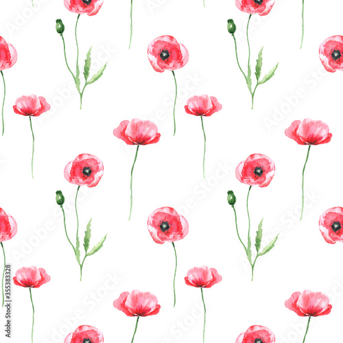 Poppies watercolor seamless pattern background wallpaper