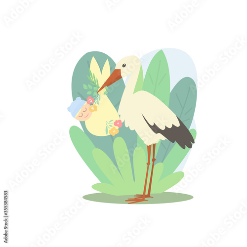 A stork holds a newborn in a bag decorated with flowers Wallpaper Mural