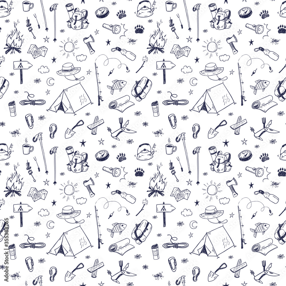 Fototapeta Hand drawn doodle camping vector elements seamless pattern with bonfire, adventure, hiking and touristic equipment