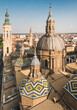Zaragoza panoramic view of The Cathedral-Basilica of Our Lady of the Pillar, Roman Catholic church in the city of Zaragoza, Aragon, Spain.