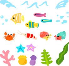 かわいい魚と海のイラ...