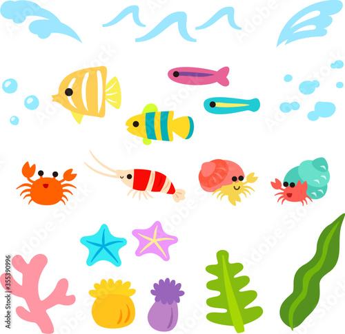 Obraz na plátne かわいい魚と海のイラストセット