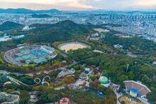 Sunset Aerial View Of Eworld Amusement Park In Daegu, Republic Of Korea