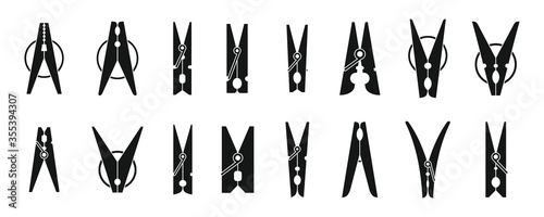 Fotografie, Obraz Home clothes pins icons set