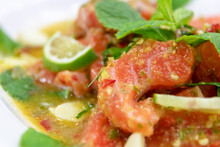 Spicy Salmon Salad With Herbs;...