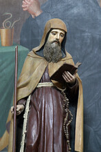 St. Anthony The Hermit Statue On The Altar Of St. Benedict In The Church Of The Holy Three Kings In Stara Ploscica, Croatia