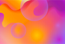 Abstract Colored Background With Shapes And Bubbles. Multicolored Background. Trendy Wallpaper. Abstract Background In Violet Color, With Figures Of Balls And Bubbles. Vector Fluid.