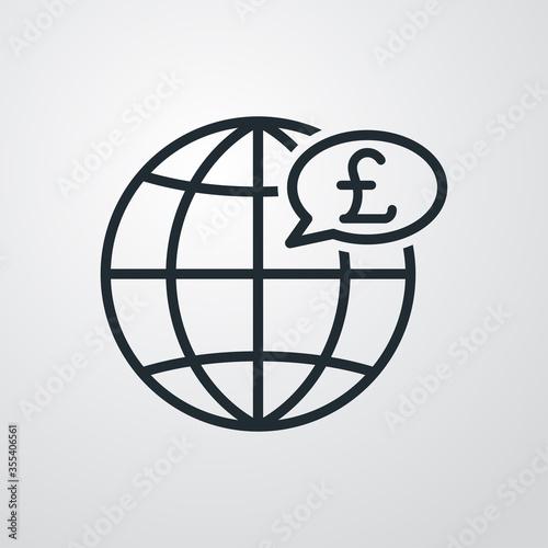 Fototapeta Icono plano lineal globo terráqueo con libra esterlina en globo de habla en fondo gris obraz