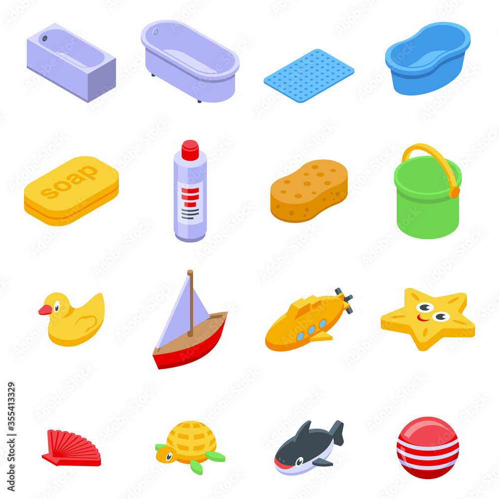 Fototapeta Bath toys icons set. Isometric set of bath toys vector icons for web design isolated on white background