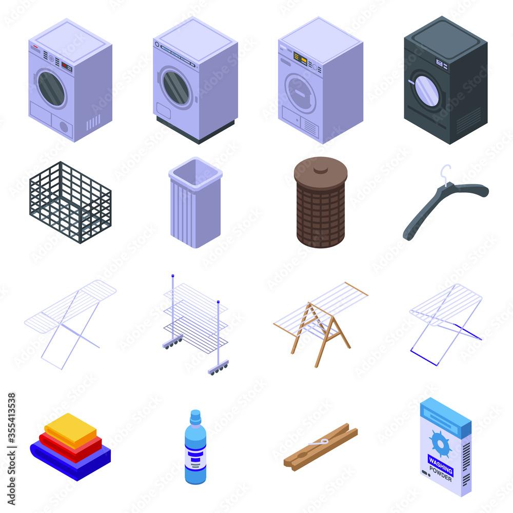 Fototapeta Tumble dryer icons set. Isometric set of tumble dryer vector icons for web design isolated on white background