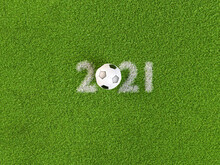 3D Render: Soccer Ball Within The 2021 Digits. Concept For All Soccer Or Football Events, Championships Or Tournaments In The Year 2021. Copy Space Around.