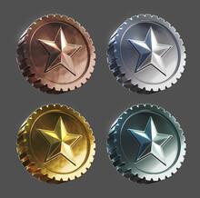 3d Rendered Set Of Tier Medals...