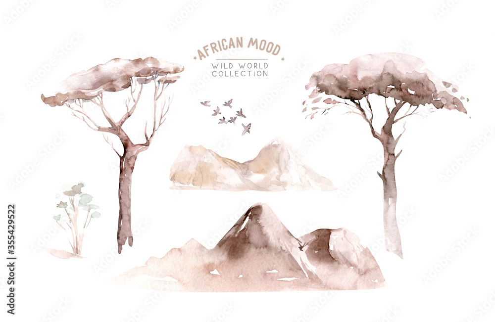 Fototapeta Watercolor landscape: african desert sunrise. Hand painted nature view with Acacia trees. Beautiful safari scene for wedding invitation pre-made card design