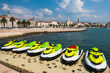 Jet Skis Docked On Floating Po...