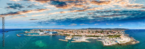 Obraz Amazing aerial view of Livorno and Mascagni Terrace, famous town of Tuscany - fototapety do salonu
