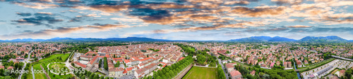 Obraz Amazing aerial view of Lucca, famous town of Tuscany - fototapety do salonu