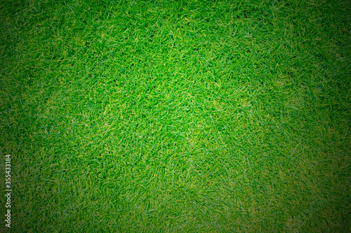 Obraz na plátně Green grass texture background, Top view of grass garden Ideal concept used for making green flooring Vignette adjustment, lawn for a training football pitch, Grass Golf Courses green lawn pattern