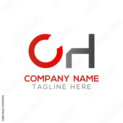 Initial Simple Letter OH Logo Design Vector Template Wallpaper Mural