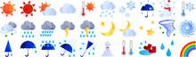 アートな切り抜き風の天気のイラストのセット