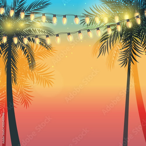 Summer holiday design sunset with palm leaves and Yellow Garland Lamp Bulbs. Vector Illustration Wall mural