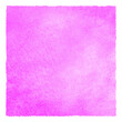 canvas print picture - Fuchsia pink color square watercolor texture with stains and rough artistic edges. Bright colorful neon watercolour painted background. Hand drawn abstract aquarelle fill, text frame, border template