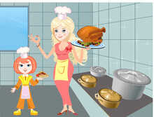 Housewife Girl Cooking Food. T...