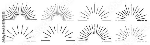 Fotografija Sun rays hand drawn, linear drawing