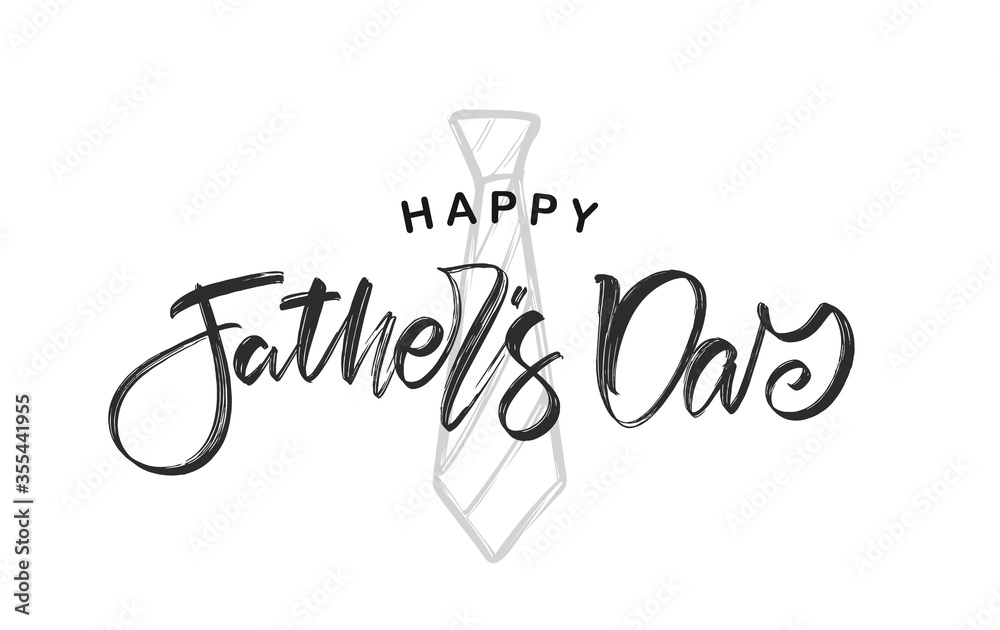 Fototapeta Hand lettering of Happy Father's Day with hand drawn tie on white background