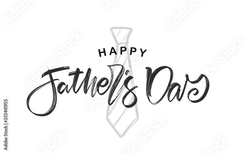 Obraz Hand lettering of Happy Father's Day with hand drawn tie on white background - fototapety do salonu