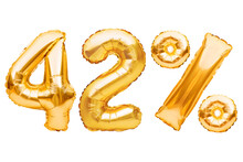 Number 42 Forty Two And Percent Sign Made Of Golden Helium Inflatable Balloons Isolated On White. Gold Foil Numbers For Web And Advertising Banners, Posters, Flyers. Discounts, Sale, Black Friday.