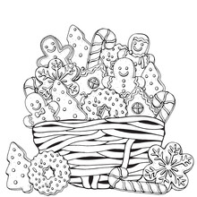 Christmas Gingerbread Cookies, Holiday Baking  In The Basket. Winter Pattern With Christmas Hand-drawn Decorative Elements In Vector.  Coloring Book Page For Adults. Black And White.