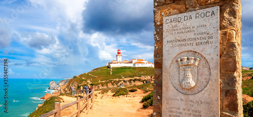 Cabo da Roca, PORTUGAL - March 08, 2020: Monument announcing Cabo da Roca as the westernmost point of continental Europe Canvas Print