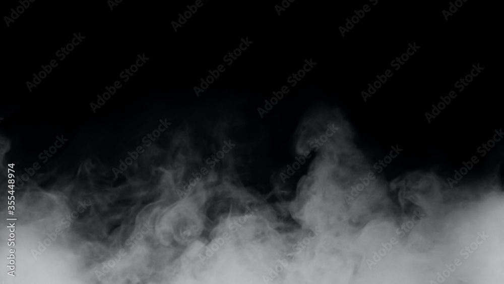 Fototapeta White smoke or fog isolated on black background.