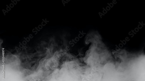 White smoke or fog isolated on black background. Canvas Print