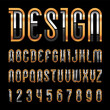 Bright metallic font, trendy alphabet, golden vector letters on a black background.