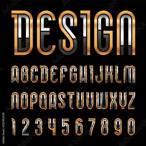 Fotografía Bright metallic font, trendy alphabet, golden vector letters on a black background