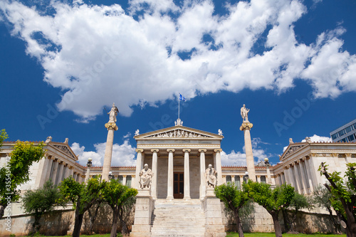 Photo The Academy of Athens, one of the three building that compose the architectonic Hansen Trilogy, in Athens, Greece